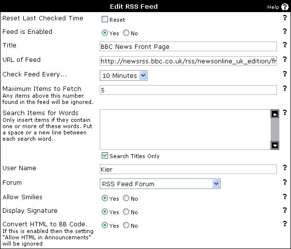 vBulletin Manual - Editing RSS Feeds