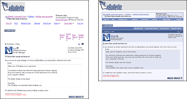 A page from vbulletin.com shown with and without CSS applied